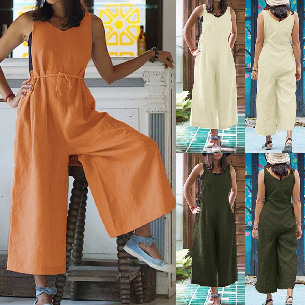 Body Femme Mono Mujer Largo Elegante Combishort Sexy Jumpsuit Summer Loose Linen Jumpsuit V-Neck Casual Loose Trousers Z4