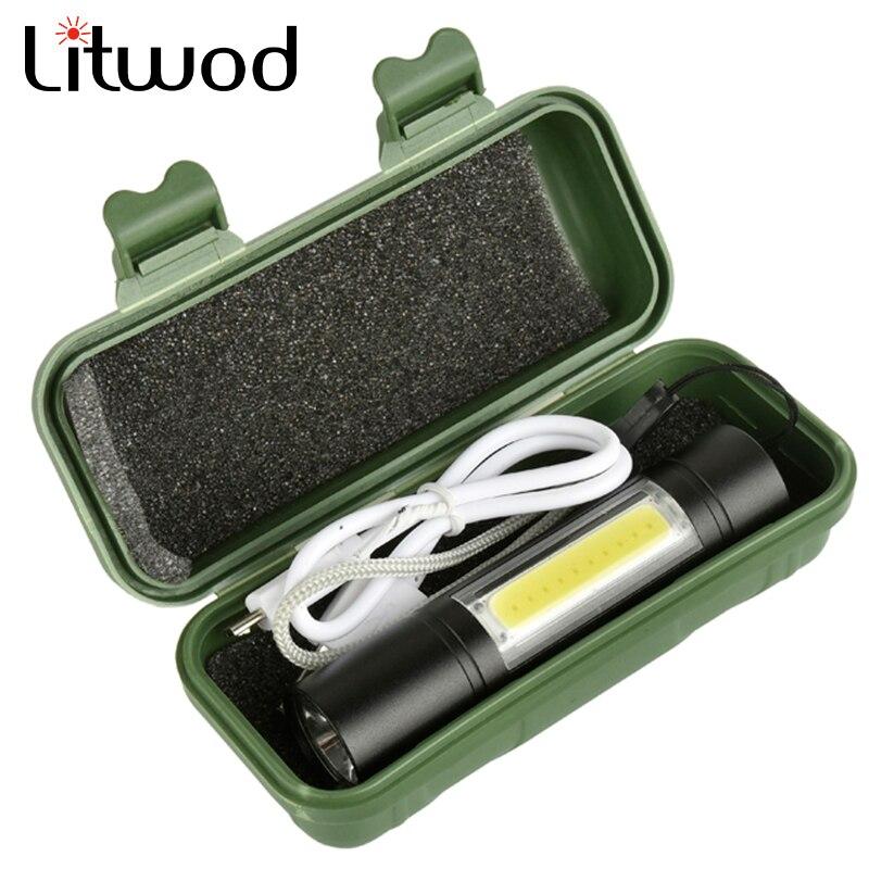 Litwod z201518 LED lampe de Poche Q5 & COB 2000LM étanche Intégré batterie lumière Micro USB port lanterne 3 Mode Torche pour Camping