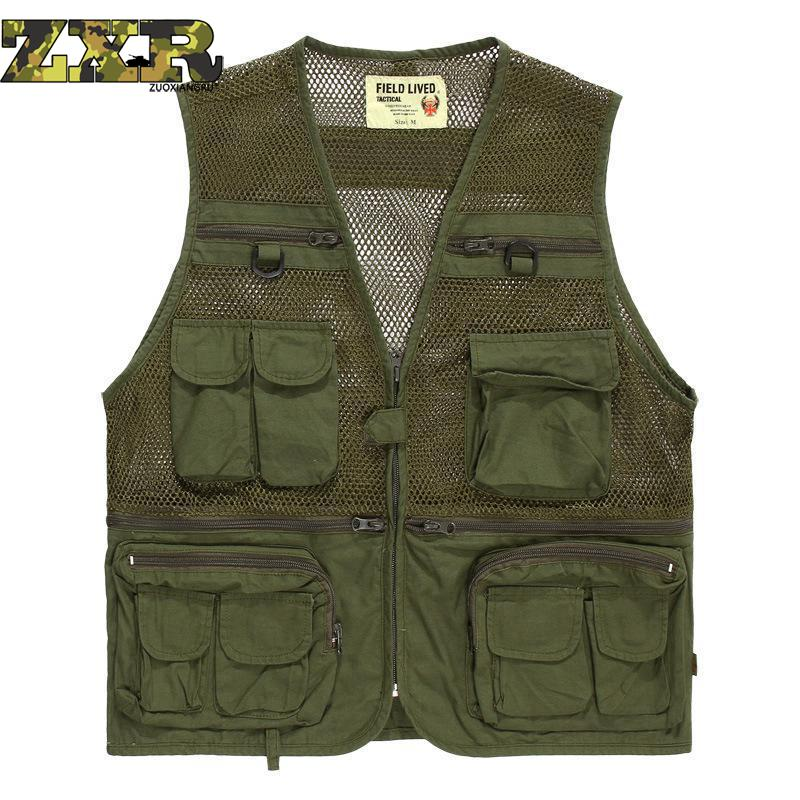 Zuoxiangru Men's Multi Pocket Tactical Vest Army Military Fans Combat Camouflage Cotton Mesh Photography Hiking Vest