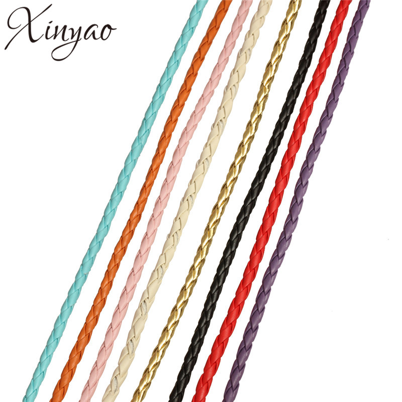 XINYAO 10m/lot 3 4 mm PU Braided Leather Cord Fit Bracelets Necklace Leather Rope String Diy Jewelry Making Accessories F583 100 m lot 3 color plating high end diy width 4 mm leather handbag aglet fine chain decoration accessories
