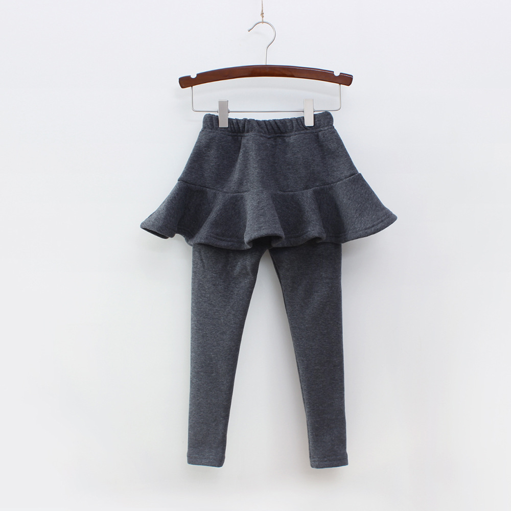 Г. Однотонные штаны для девочек детские леггинсы От 2 до 10 лет одежда для детей осенние хлопковые леггинсы теплая юбка-брюки для маленьких девочек, высокое качество - Цвет: Dark Grey