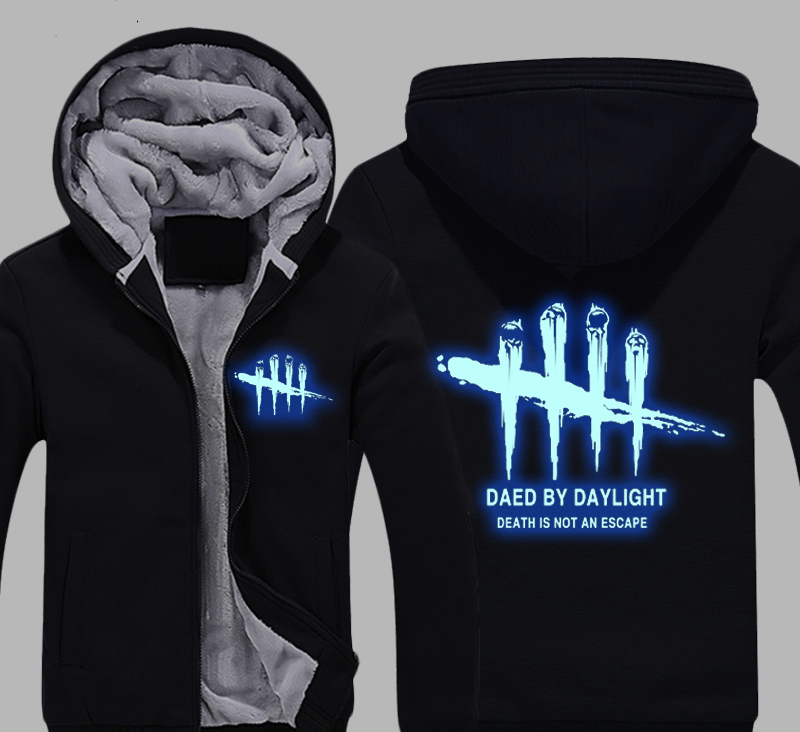 Steam Dead by Daylight Death is not an escape Thick Fleece Mens Outwear Big Yards Cotton Hoodie Coat Jacket Parkas Warm
