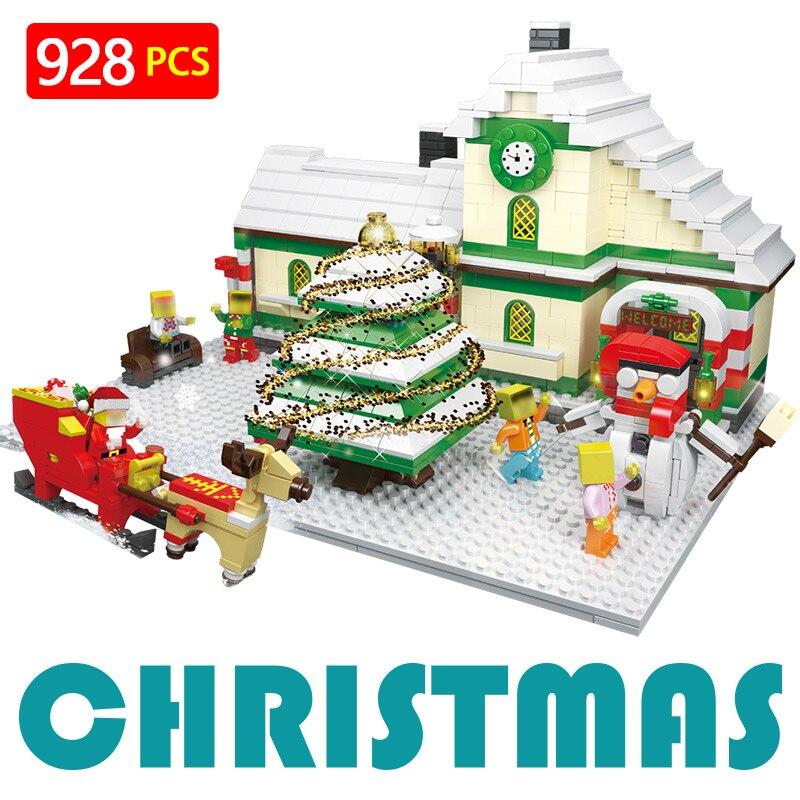 Créateur D'hiver LegoINGlys De Noël Santa Claus Neige Pin Sika cerfs Traîneau Modèle En Plastique Blocs de Construction Jouets pour Enfants
