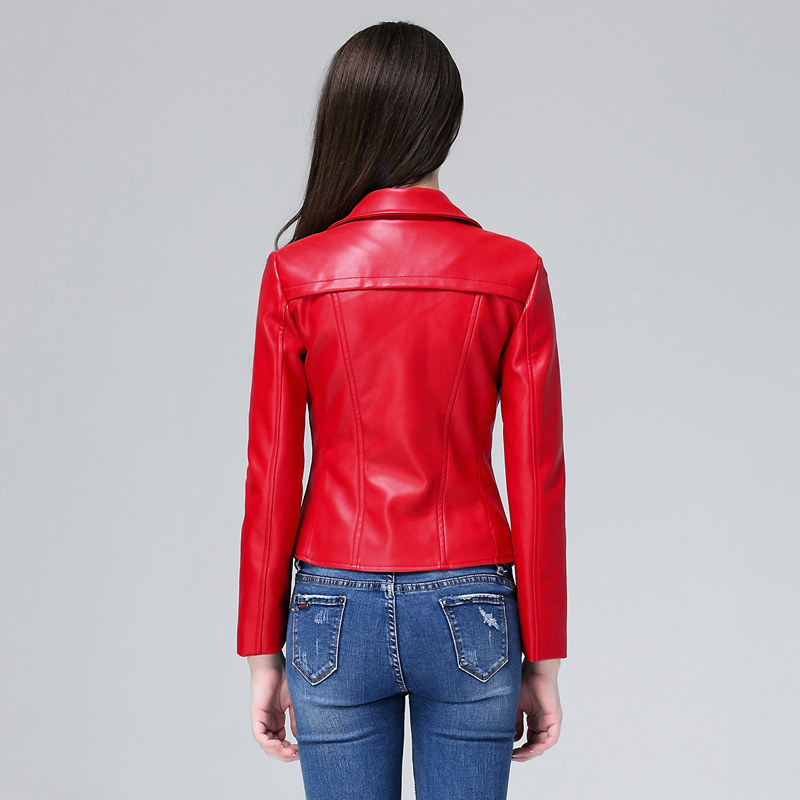 23d6b1f28d7c Women Red Leather Jacket New 2018 Spring Zipper Slim Biker Coats Female  Black Motorcycle Jacket Ladies Cheap Coat Cuero Mujer-in Leather & Suede  from ...