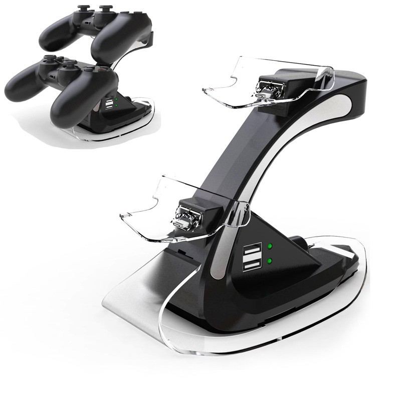 Dual USB Charging Dock Station for Sony PS4 <font><b>PlayStation</b></font> 4 PS4 Slim PS4 Pro Game Controller Stand Holder Black GT Charger