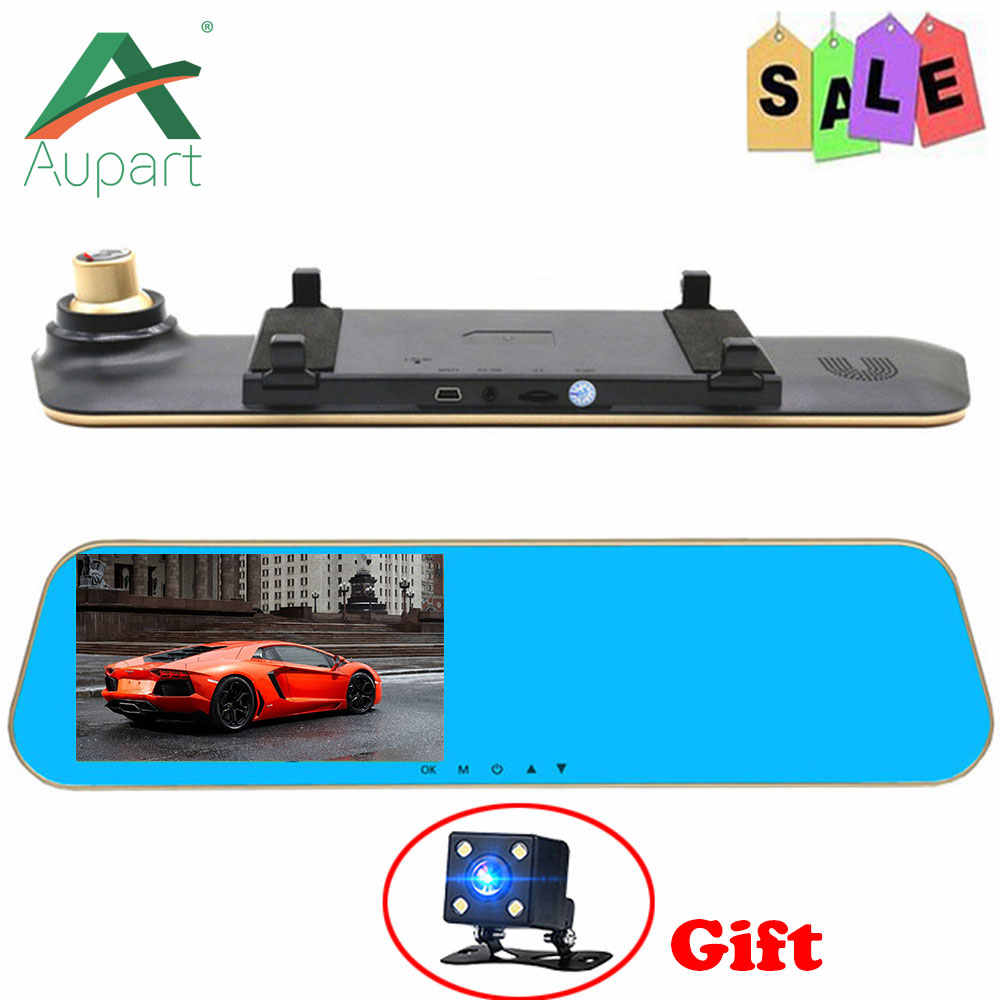 "car dvr Dual DVR Camera parking camera Dual lens FHD 1080P 4.3"" Rear view camera mirror G-Sensor car dvr camera cycle recording"