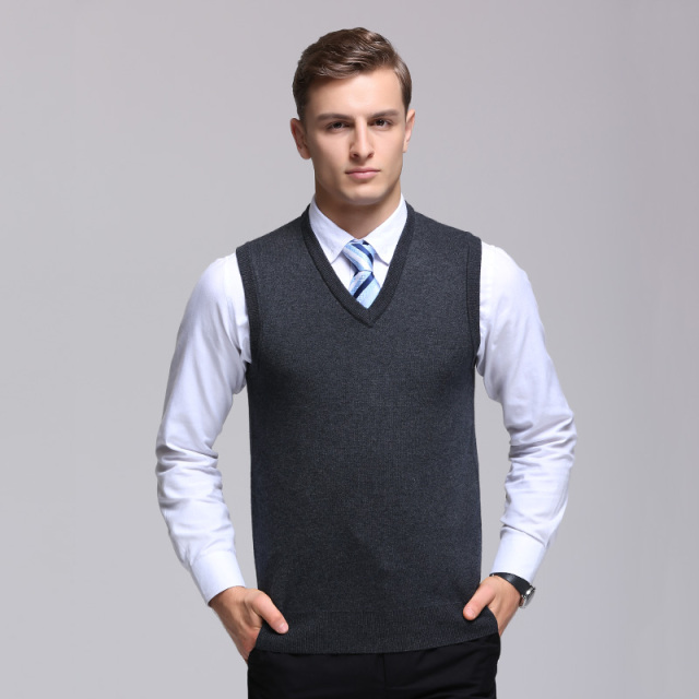fdd10911f2 Hot Sale Knitted Sleeveless V-neck Vest Autumn Mens Knitted Sweater Men  Business Casual Solid Color Wool Sweater Vests