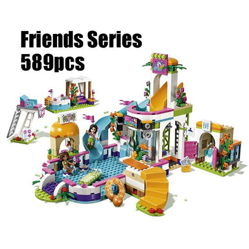 589pcs diy Friends Building Blocks Heart Lake City swimming pool Bricks toys girl gifts Compatible With Legoingly 41313 lepin building blocks model 01013 compatible legoing friends summer swimming pool 41313 educational toys for children