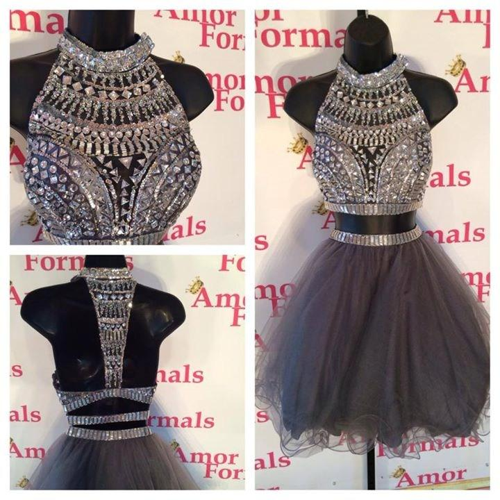 e5c61872e1729 Cecelle 2016 Sparkly Grey Two Pieces Short Homecoming Dresses Halter Beaded  Tulle Sexy Open Back 2 Pieces Prom Cocktail Gowns-in Homecoming Dresses  from ...