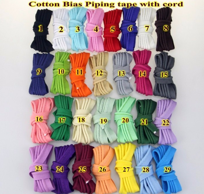 """Cotton Bias Cord Tape Flange Piping Trim  Binding Covered Insertion Tap Upholstery Sewing Textile Piping Tape 12mm,1/2"""" 20 Meter