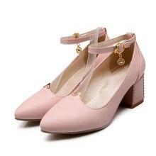 ARMOIRE Hot Sexy Black Pink Beige Women Dress Pumps Ladies Med Square Heels Shoes AHX7-9 Plus Big Size 32 43 4 10 Buckle