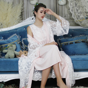 Image 3 - Autumn Cotton Women Embroidered Rob Sets White 2 Pieces Lace Nightgowns Long Sleeve Retro Solid Color Sleepwear Home Wear  063