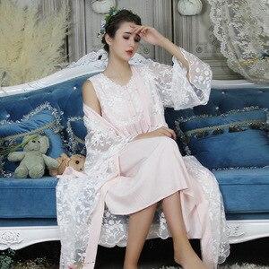 Image 3 - ฤดูใบไม้ร่วงผ้าฝ้ายผู้หญิงปัก Rob ชุดสีขาว 2 ชิ้น Lace Nightgowns แขนยาว Retro สีทึบชุดนอนสวมใส่ 063