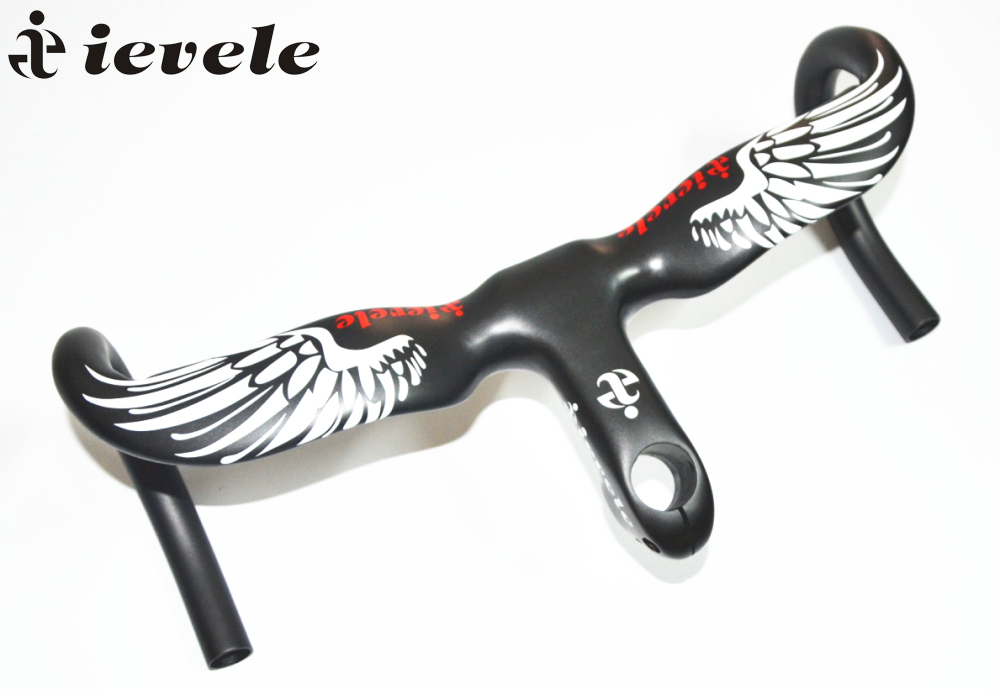 ievele Full Carbon Fiber Road Bicycle Integrated Handlebar with 28.6mm stem Carbon Road Handlebar Integrated Bar Stem Handlebar superlogic new full carbon handlebar road bicycle handlebar and stem carbon fiber integrated handlebar with stem ud 265g