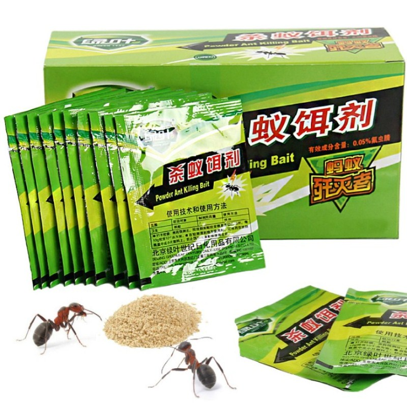50Packs Green Leaf Powder Ant Killing Bait Medicine Insecticide Powerful Killer Ant Special Effects Destroy <font><b>Pest</b></font> control