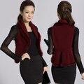 2015 Hitz knit cardigan vest Rabbit fur collar jacket wool vest big yards female Wholesale and retail Free shipping