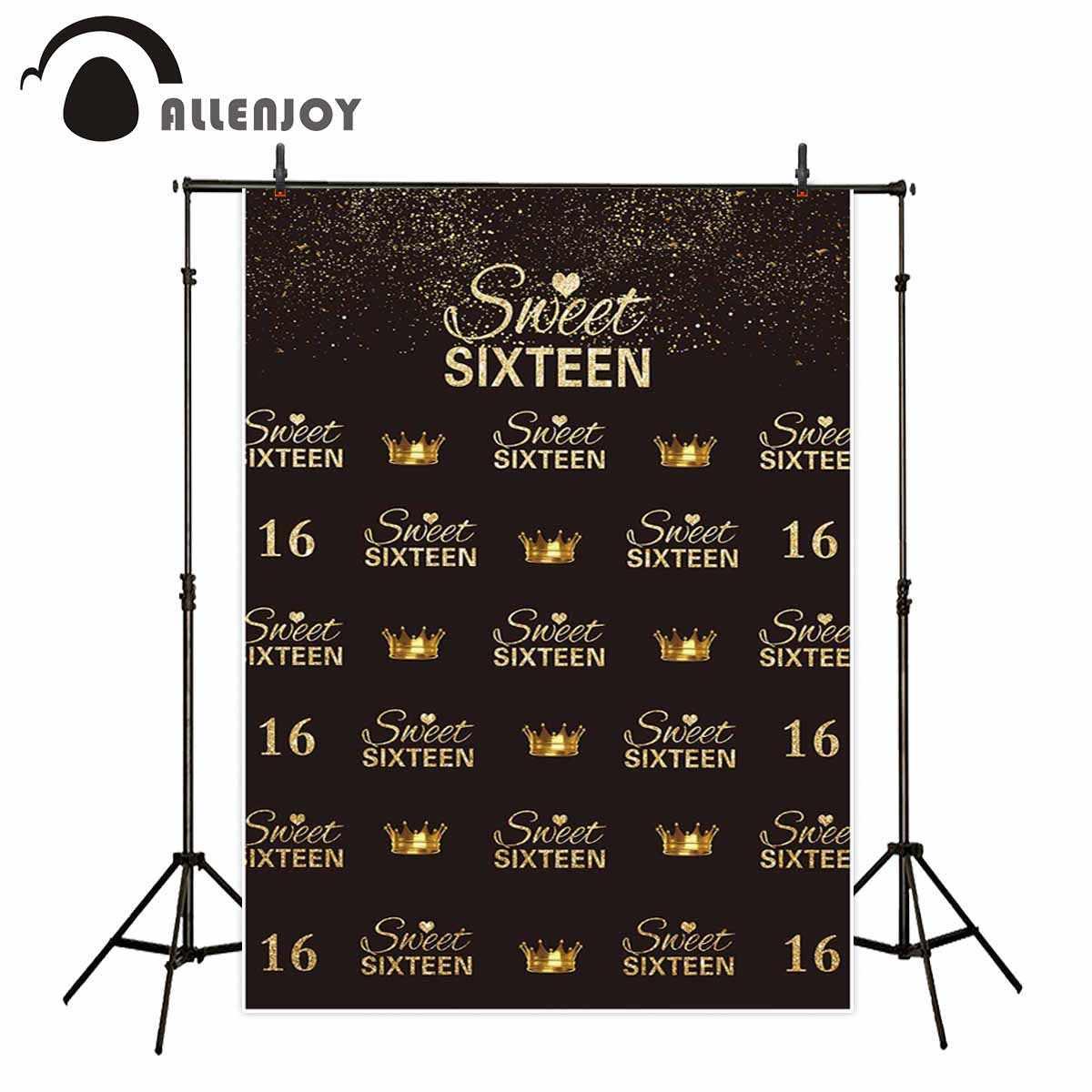 Allenjoy fotografia foto di sfondo oro glittler sweet sixteen corona di ripetizione di compleanno fondali photophone studio di oggetti di scena