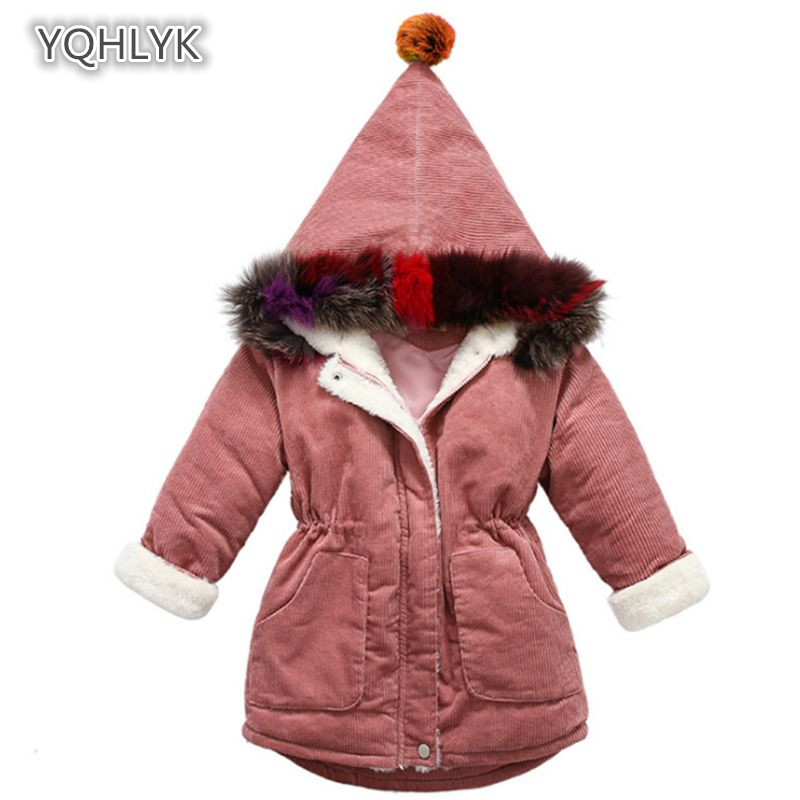 Children's winter girls cotton coat Korean corduroy warm hooded cotton Thicken long casual girl Parkas Outerwear LK205 dichotomanthes end wushu shoes for men and women section is better than soft cowhide leather shoes practicing taijiquan