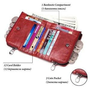 Image 3 - KAVIS Genuine Leather Women Wallet Female Red Rfid Coin Purse Small Walet Portomonee PORTFOLIO Money Bag Lady Mini Card Holder