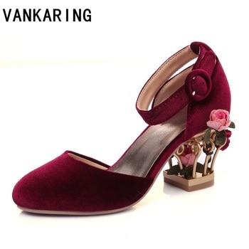 luxury ethnic style party wedding shoes strange style flower basket high heel leather sandals footwear summer female dress pumps