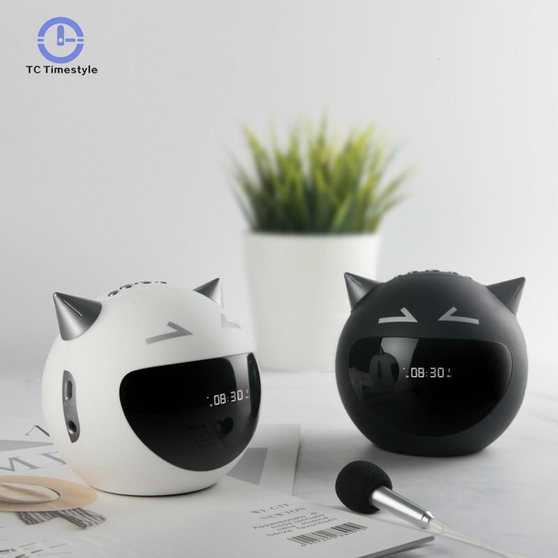 LED D'alarme Horloge Numérique Bluetooth Haut-Parleur Snooze Horloges de Table Mignon Diable Radio Microphone Musique Lecteur Électronique Montre