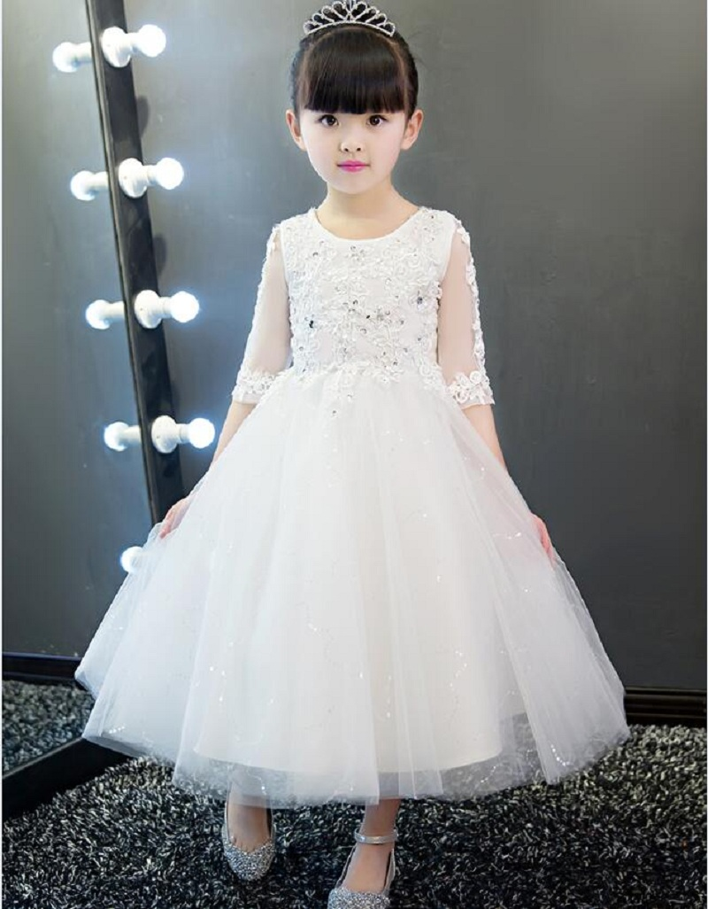 Children party dress princess wedding dress with sleeves flower girl ball gown kids baby dresses bridesmaid formal clothing kids kids girls bridesmaid wedding toddler baby girl princess dress sleeveless sequin flower prom party ball gown formal party xd24 c