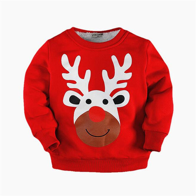 Children brand Thick Plush Hooded 2017 Autumn Boys Cotton Long Print O-neck lovely Fleece T shirt Cartoon Animal Christmas wear