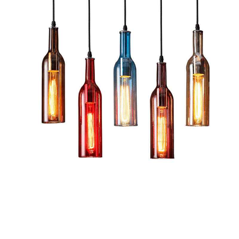 Nordic style restaurant bar table pendant lighrs coffee shop clothing store colorful wine bottle glass personality hanging light цена