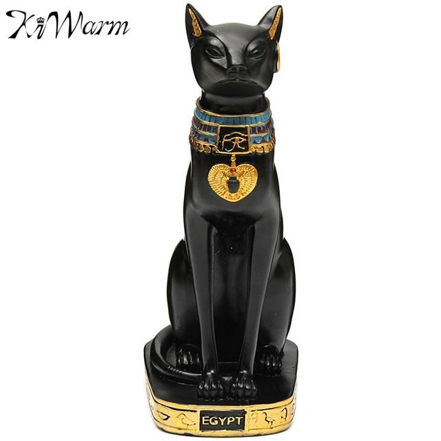 Beau KiWarm Vintage Egyptian Cat Goddess Figurine Black Cat Statue Figurine  Craft Ornament Home Office Desktop Decor