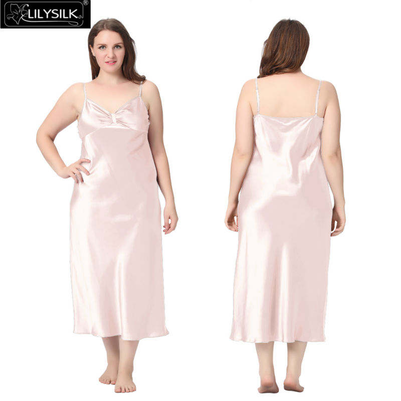 1000-light-pink-22-momme-gathered-bowknot-neck-silk-nightgown-plus-size-01