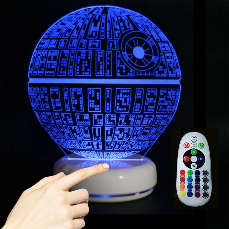 Porcelain Base Death Star 3D Visual Light Creative Touch Sensor Night Lamp Remote Control Night Light For Children Bedroom Decor keyshare dual bulb night vision led light kit for remote control drones