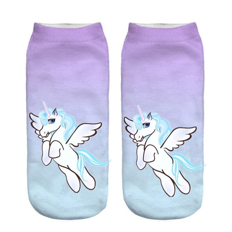 zhbslwt harajuku emoji unicorn print 3d socks women kawaii ankle licorne chaussette femme. Black Bedroom Furniture Sets. Home Design Ideas