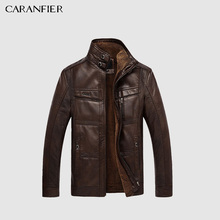 CARANFIER Mens Leather Jackets Winter Warm Coat Plus Thick Outerwear Male Biker Motorcycle Zipper Top Quality Men Coats M-5XL