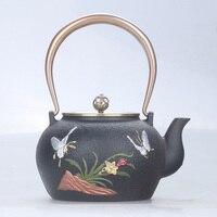 Cast iron pot oxidation film process orchid butterfly double copper drawing tea pot boiling water kettle teapot tea set 1.3L