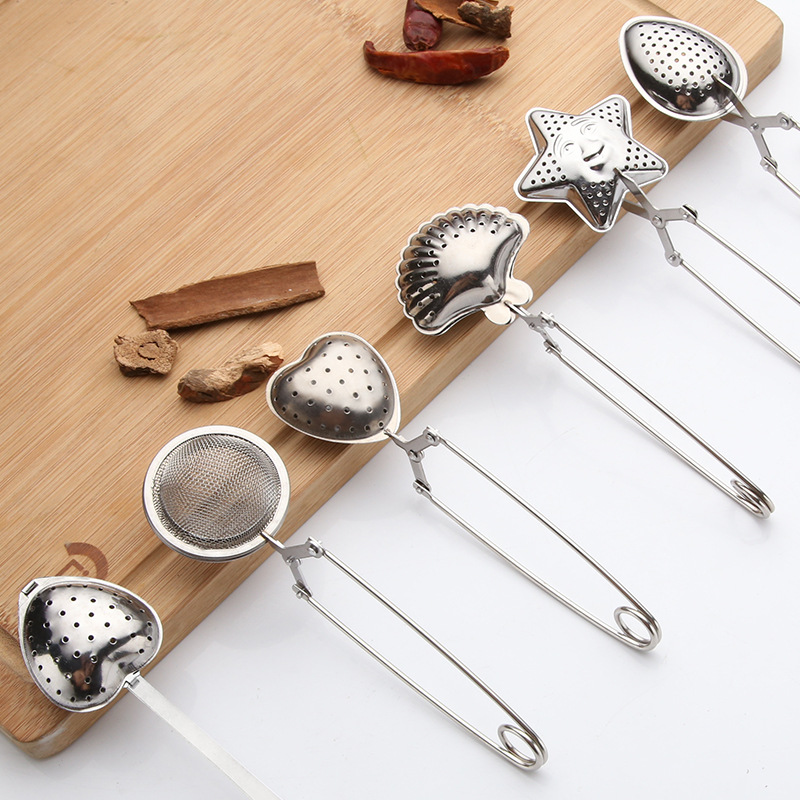 مصفاة شاي شبكية من الفولاذ المقاوم للصدأ مقبض شاي كرة شاي أداة مطبخ مصفاة شاي أعشاب فلتر توابل