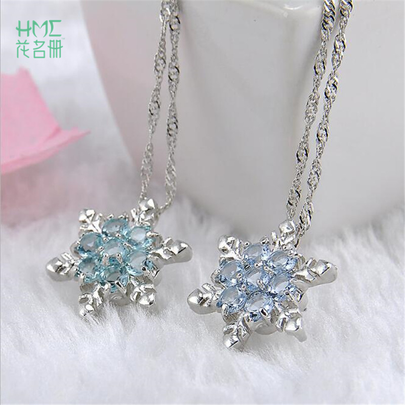 1pc NEW Personality Snowflake Necklaces Christmas Gift Pendant Fashion Clavicle Chain Sweater Chain Necklace Jewelry Accessories