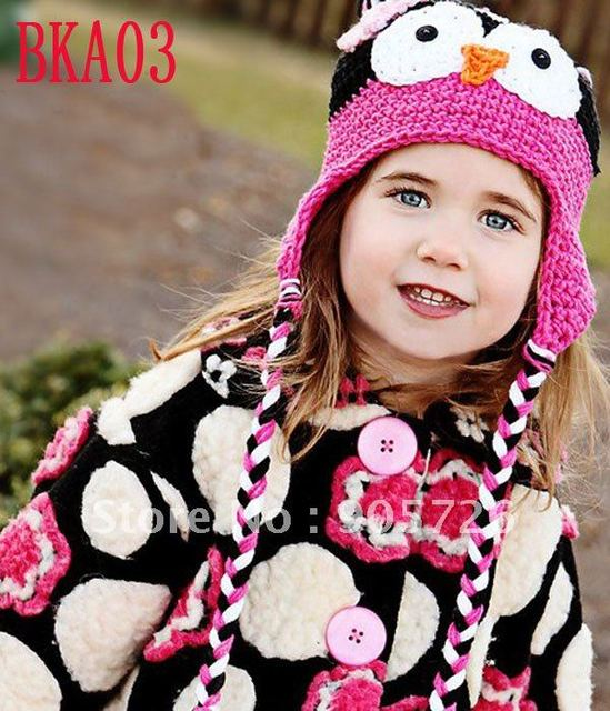 wholesale 30pcs/lot  cute OWL HAT knitted baby crochet animal hat cap Beanie with earmuffs free shipping by EMS