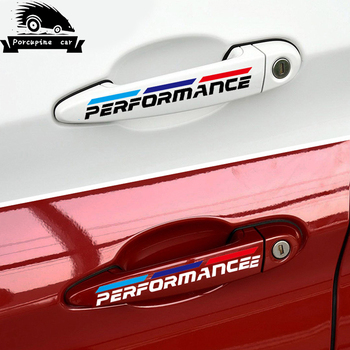 4PCS/LOT Car Styling Car Door Handle Car Stickers Performance Decoration For BMW f30 f34 f10 e46 e39 e60 e90 e70 e71 X1 X3 x5 X6 image