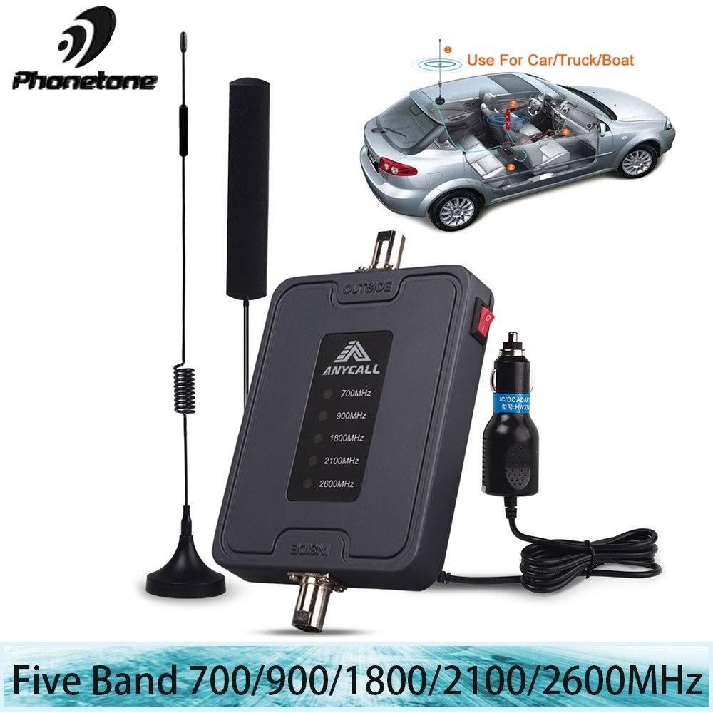 Mobile téléphone portable amplificateur de signal 5 Bande 700/900/1800/2100/2600 MHz 45dB Gain 2G 3G 4G LTE Cellulaire Booster Répéteur pour la voiture utiliser