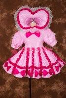 Пикантные с замочком розовое сердце Тип Шляпа ПВХ Сисси горничной короткое платье; Косплэй костюм равномерное [P005]
