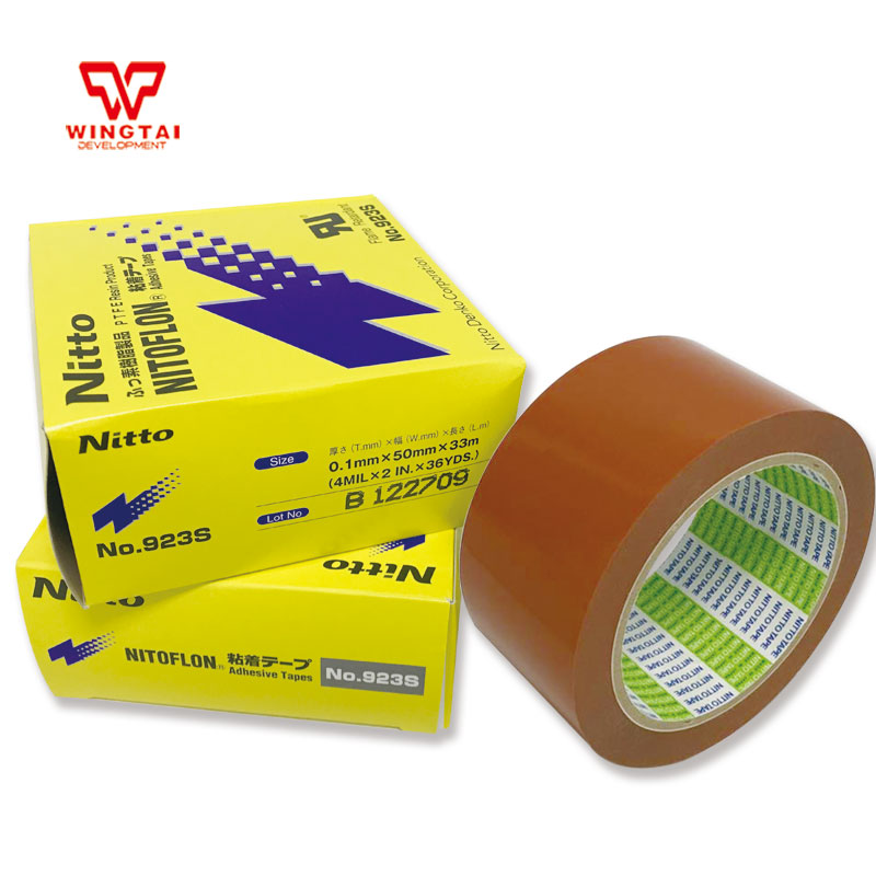 10 pcs/lot Nitto 923S Orange Nitoflon T0.10mm*W50mm*L33m Nitto PTFE Adhesive Tape Heat Sealing Machine Use Heat Resistant