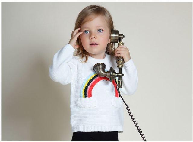 De calidad superior del arco iris suéter para las niñas niñas blancas jerseys ropa de invierno para niñas niños outfit niñas menina roupa A16