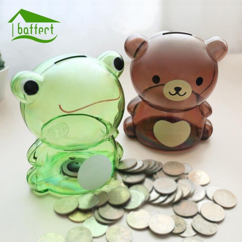 Money Box Piggy Bank Small Bear Plastic Coin Bank Cartoon Modern Money  Saving Box Decor Figurines
