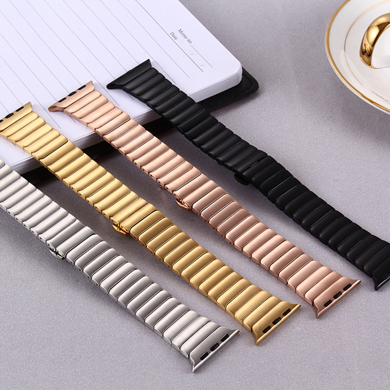 ФОТО Color 38MM 42MM stainless steel strap New solid metal sports chain strip For the apple watch belt Butterfly buckle For iwatch