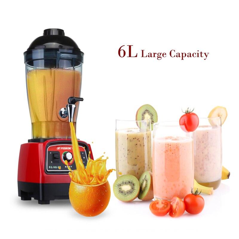 Commerciale à Grande Capacité Mélangeur 6L Légumes Fruits machine mixeur 2800 w mixeur alimentaire Haute Vitesse Foodprocessor