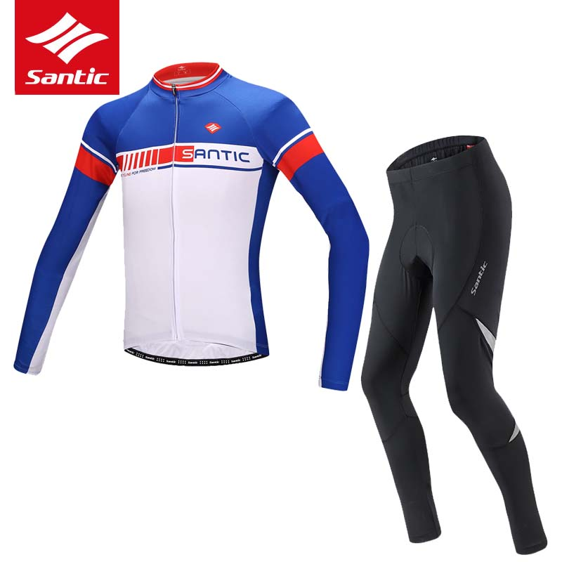 Santic Cycling Jersey Set 2017 Men Long Sleeve Cycling Clothing Pro Padded Pants Racing Bike Bicycle Clothes Sets Ropa Ciclismo teleyi men cycling jersey bike long sleeve outdoor bike jersey bicycle clothing wear breathable padded bib pants set s 4xl