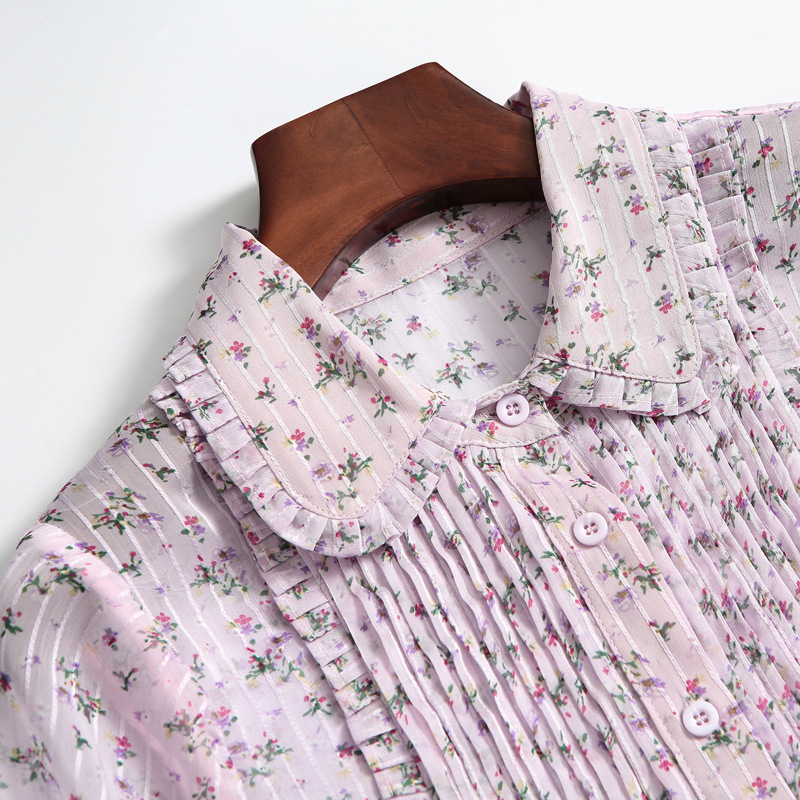 Pan Pour À Manches Supérieure Décontracté Printemps Rose Longues Femmes Doux Imprimé Col Été En 2019 Mousseline Floral Blue Peter Robe pink Qualité Bleu n7q8xawSAx