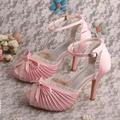 Wedopus Custom Handmade Personalized Wedding Shoes Bridal Pink Satin High Heeled