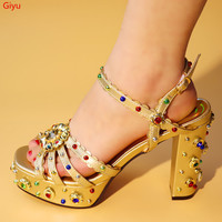 doershow High heels design Italian style gold shoes possible matching bag African shoes without bag adults woman sandals !SGF1 6