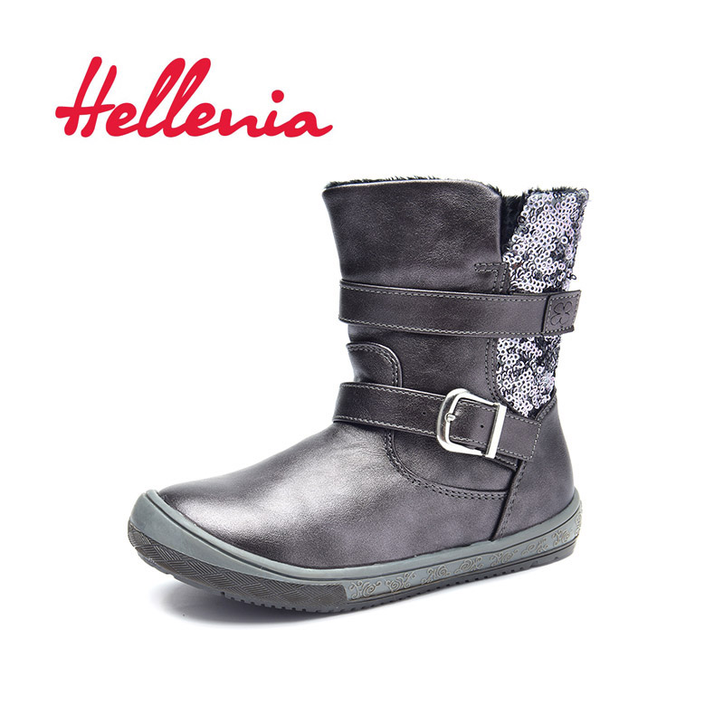 Hellenia soft Mid Calf boots kids girls boys Children Shoes eco Leather short plush lining autumn winter silver grey size 27-32